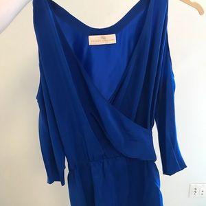 Royal blue Amanda uprichard cold shoulder dress